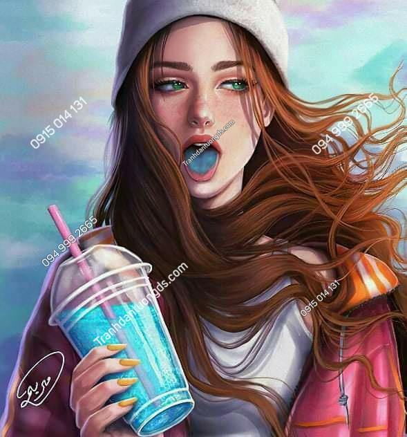 Tranh cô gái trà sữa