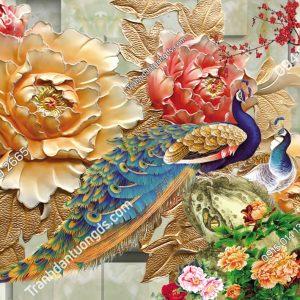Tranh công và hoa kiểu điểu khắc 15328