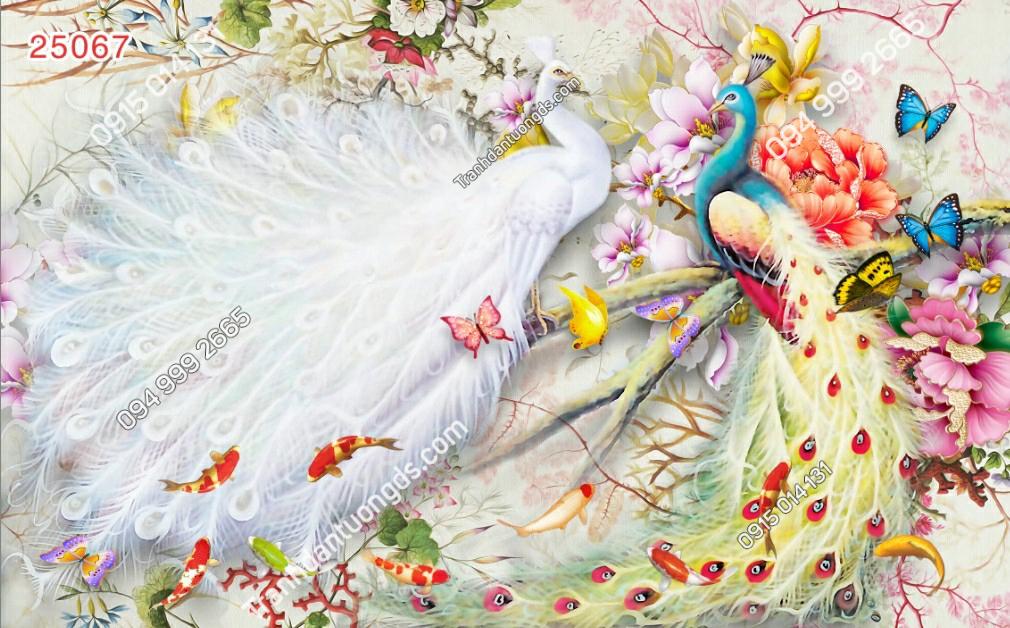 Tranh dán chim công và bướm - 25067
