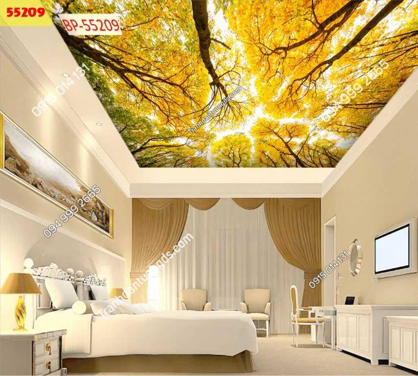 Tranh dán trần cây lá vàng 55209