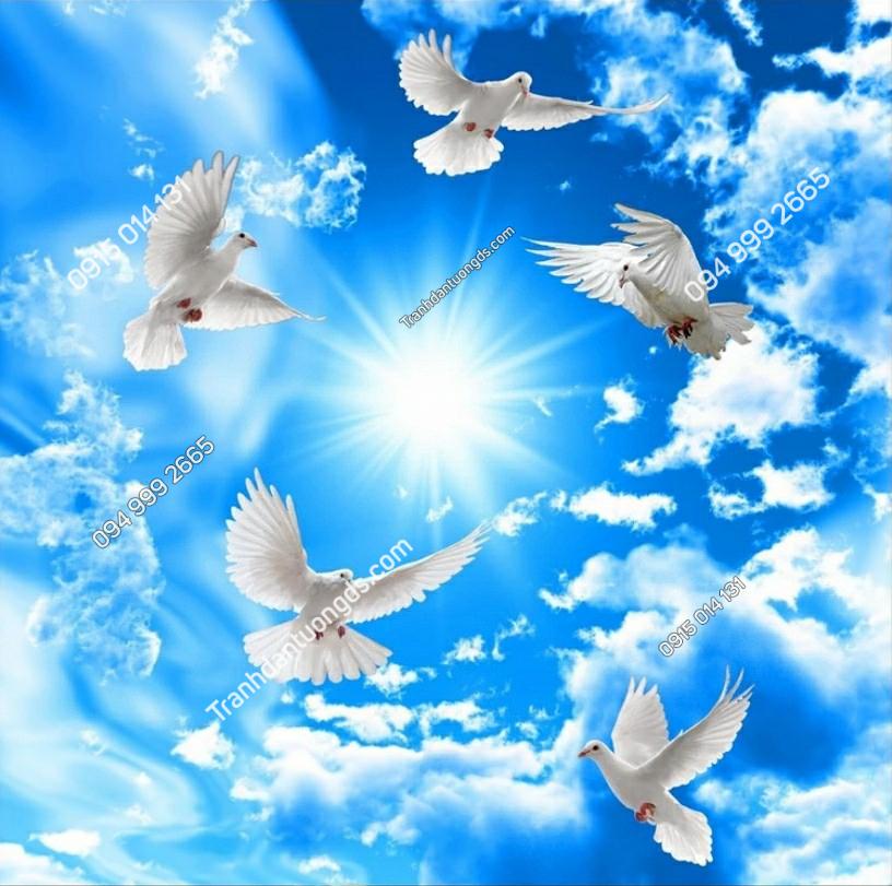 Tranh dán trần chim bồ câu mây - 10797 demo