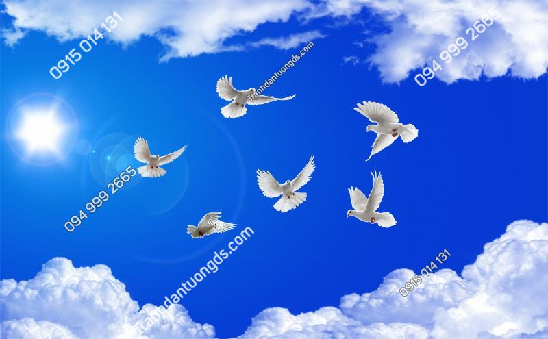 Tranh dán trần chim bồ câu mây - (2434) copy
