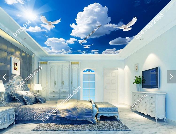 Tranh dán trần chim bồ câu mây -30000 demo