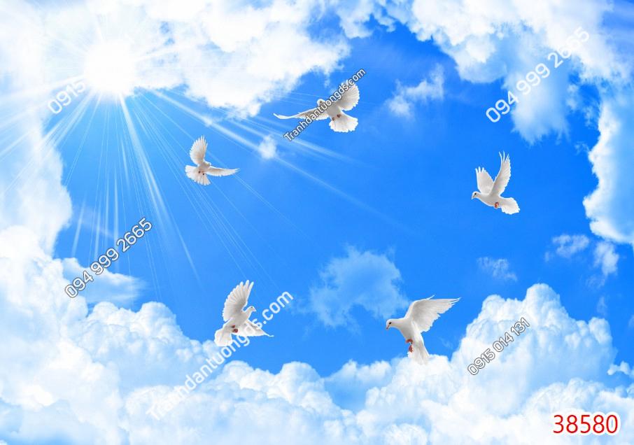 Tranh dán trần chim bồ câu mây 38580