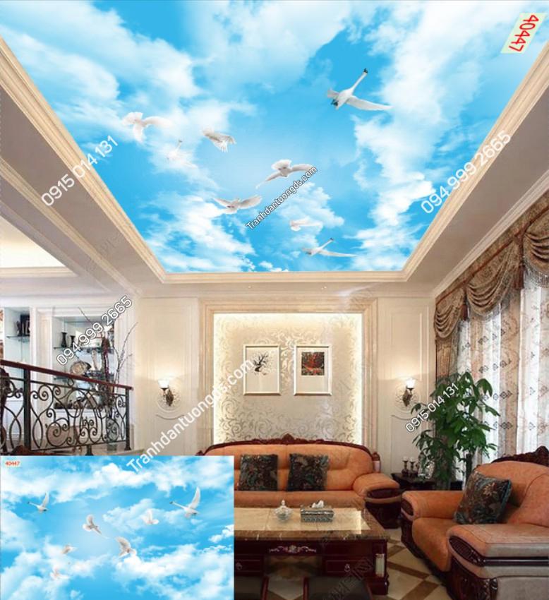 Tranh dán trần chim bồ câu mây 40447 demo