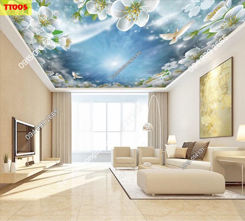 Tranh dán trần hoa và mây TT005