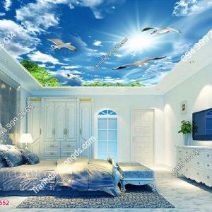 Tranh dán trần mây chim - 15552 DEMO