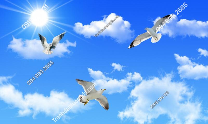 Tranh dán trần mây chim - (2943) copy
