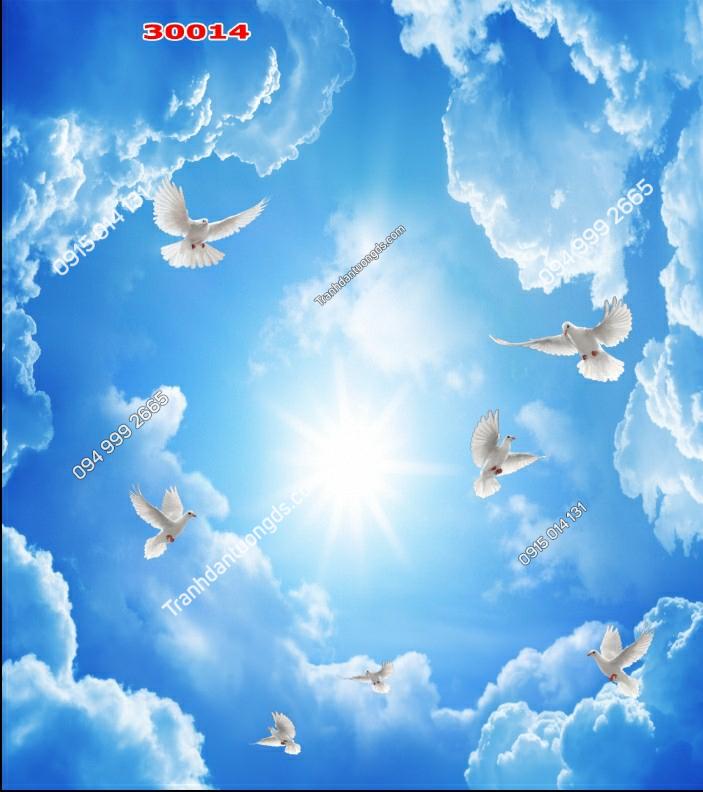 Tranh dán trần mây chim bồ câu - 30014