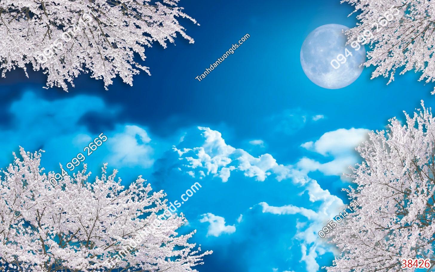 Tranh dán trần mây hoa anh đào 38426
