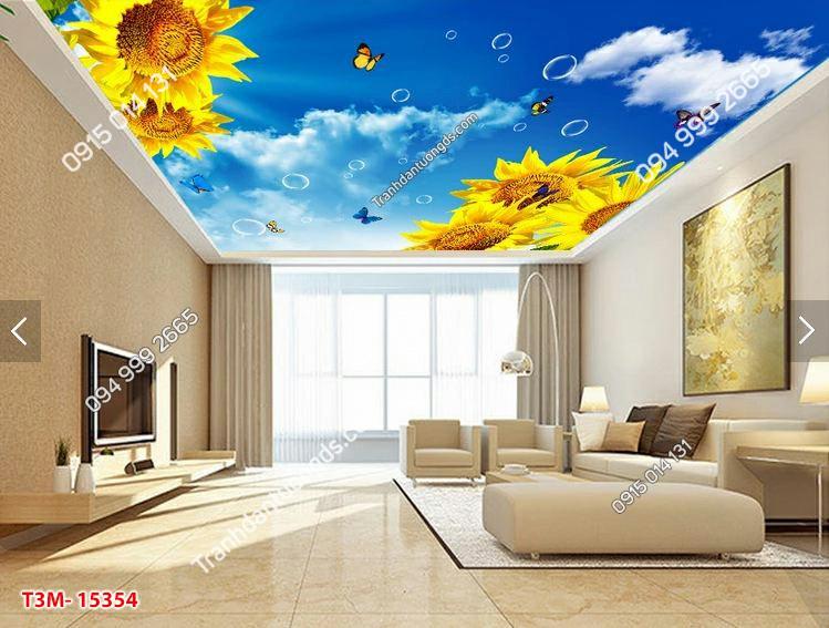 Tranh dán trần mây hoa hướng dương - 15354 DEMO