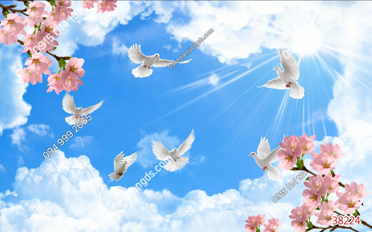 Tranh dán trần mây hoa và chim 38224