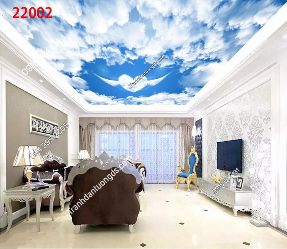 Tranh dán trần mây trái tim - 22002 demo
