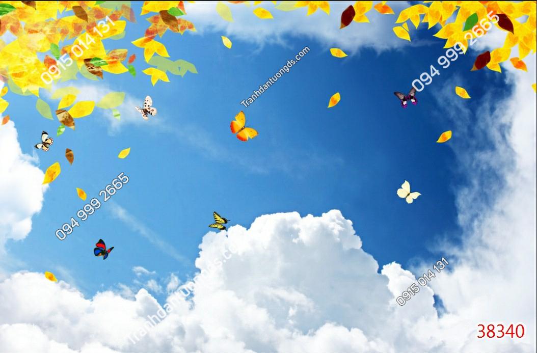 Tranh dán trần mây và bướm 38340