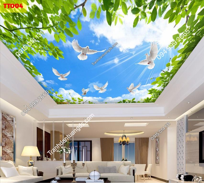 Tranh dán trần mây và cây xanh TT004