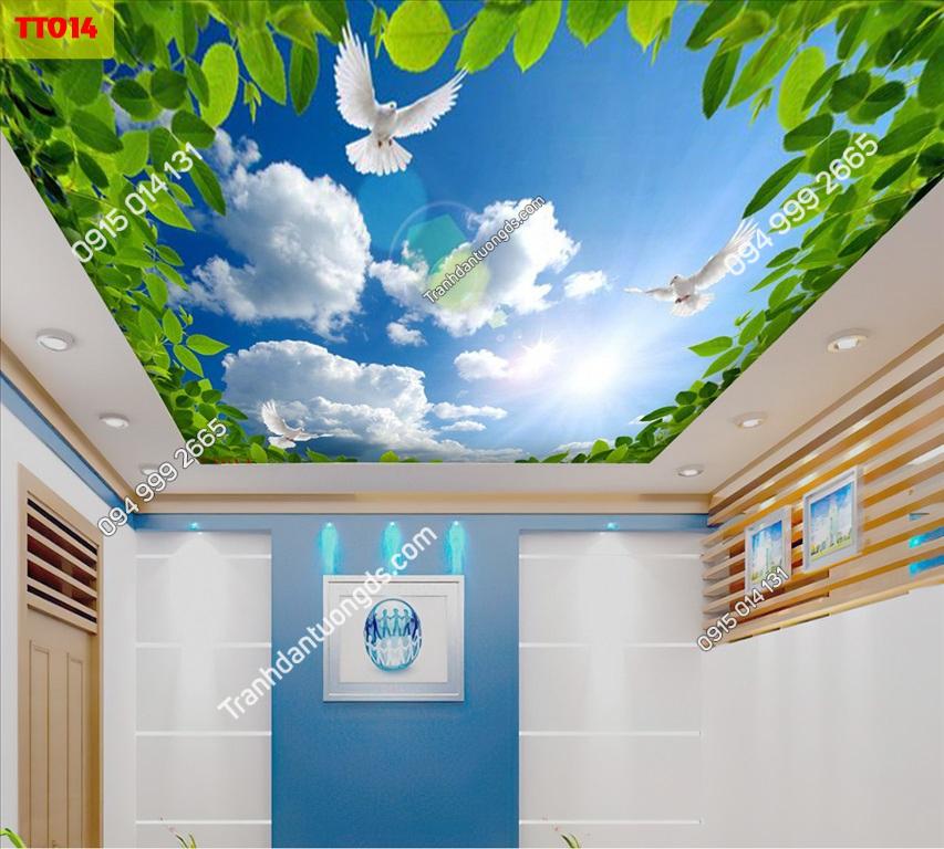 Tranh dán trần mây và cây xanh TT014