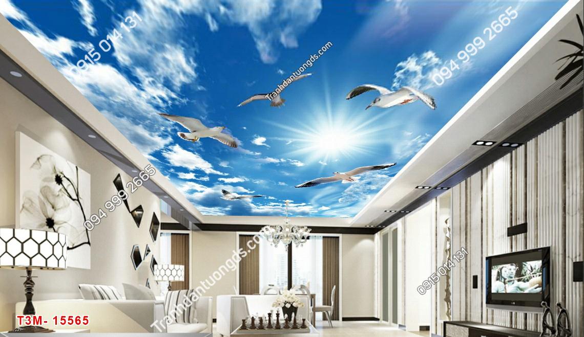 Tranh dán trần mây và chim - 15565 DEMO