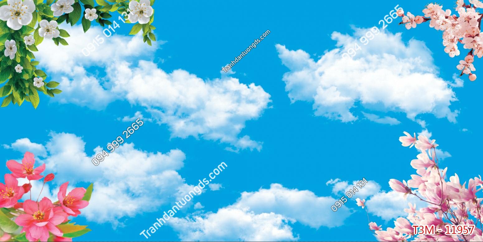 Tranh dán trần mây và hoa - 11957 demo