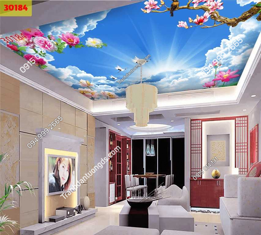 Tranh dán trần mây và hoa 30184