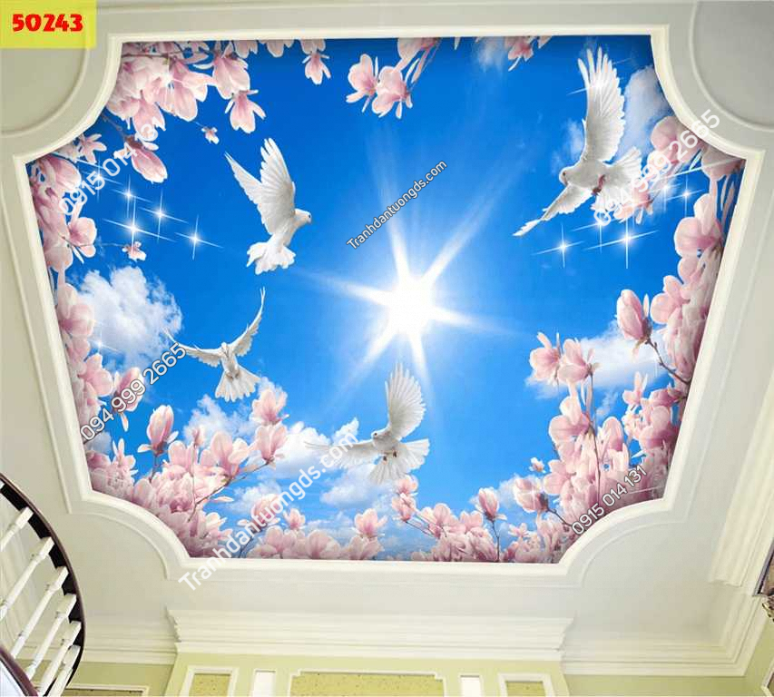 Tranh dán trần mây và hoa 50243