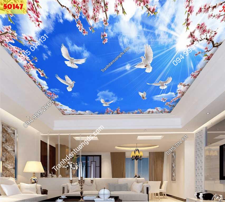 Tranh dán trần mây và hoa đào 50147
