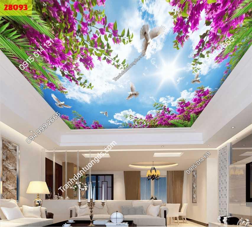 Tranh dán trần mây và hoa giấy 28093