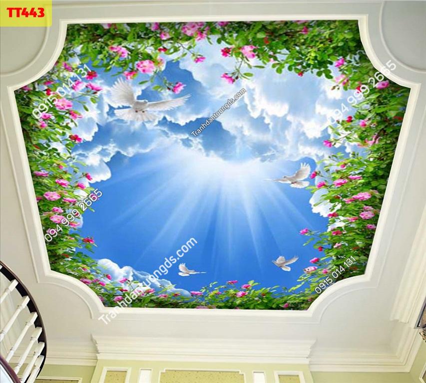 Tranh dán trần mây và hoa hồng TT443