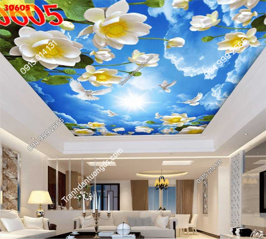 Tranh dán trần mây và hoa sen 30605