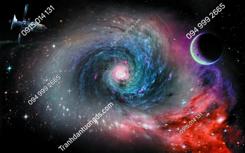 Tranh dán trần vũ trụ 3D - (2899)