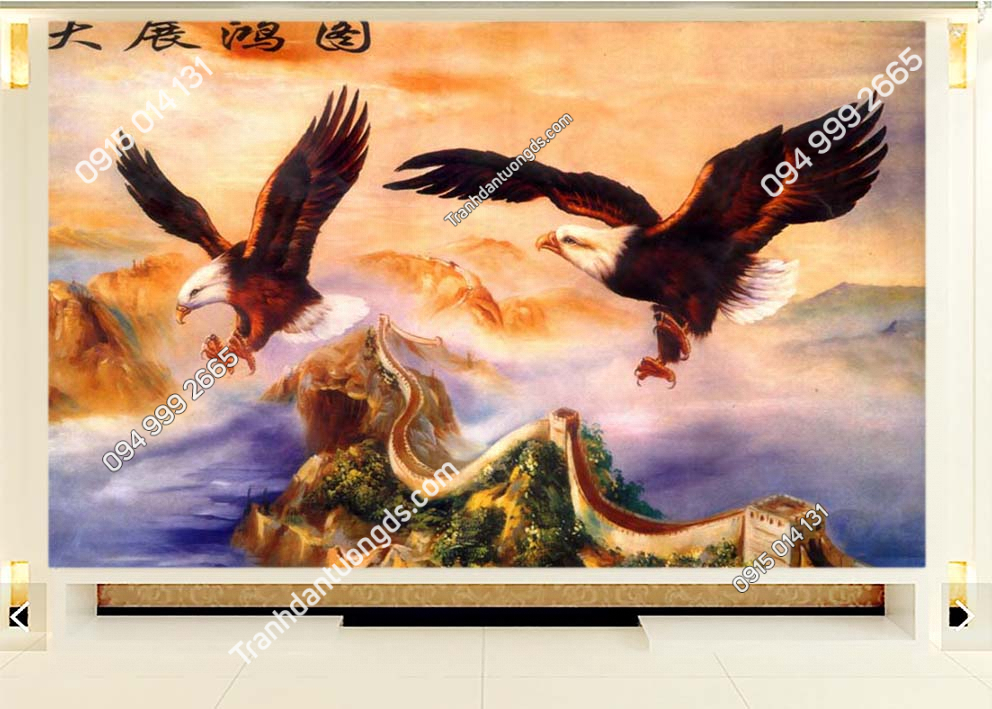 Tranh dán tường 2 chú chim đại bàng DV27