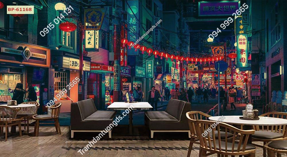Tranh dán tường 3D hongkong quán cafe trà sữa