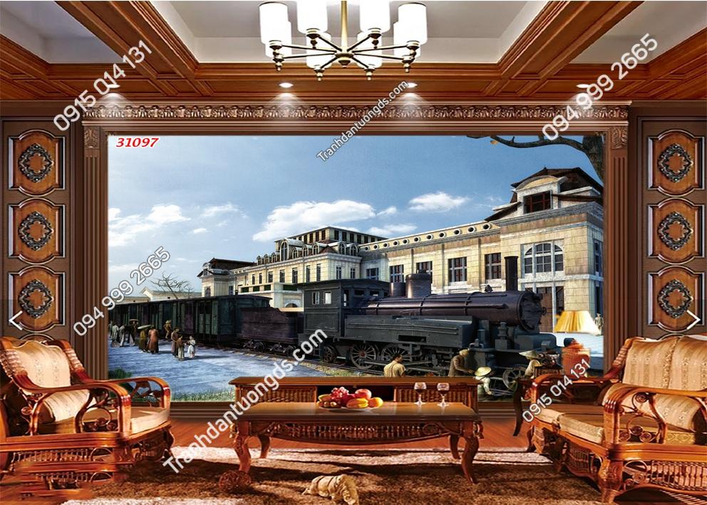 Tranh dán tường Ga Hà Nội xưa 31097