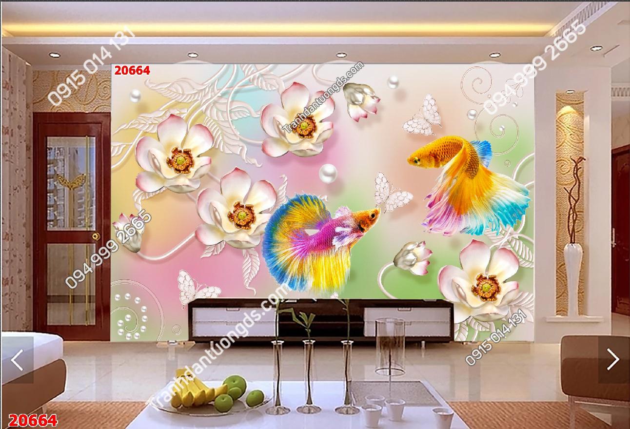 Tranh dán tường cá chép hoa 20664 phòng khách