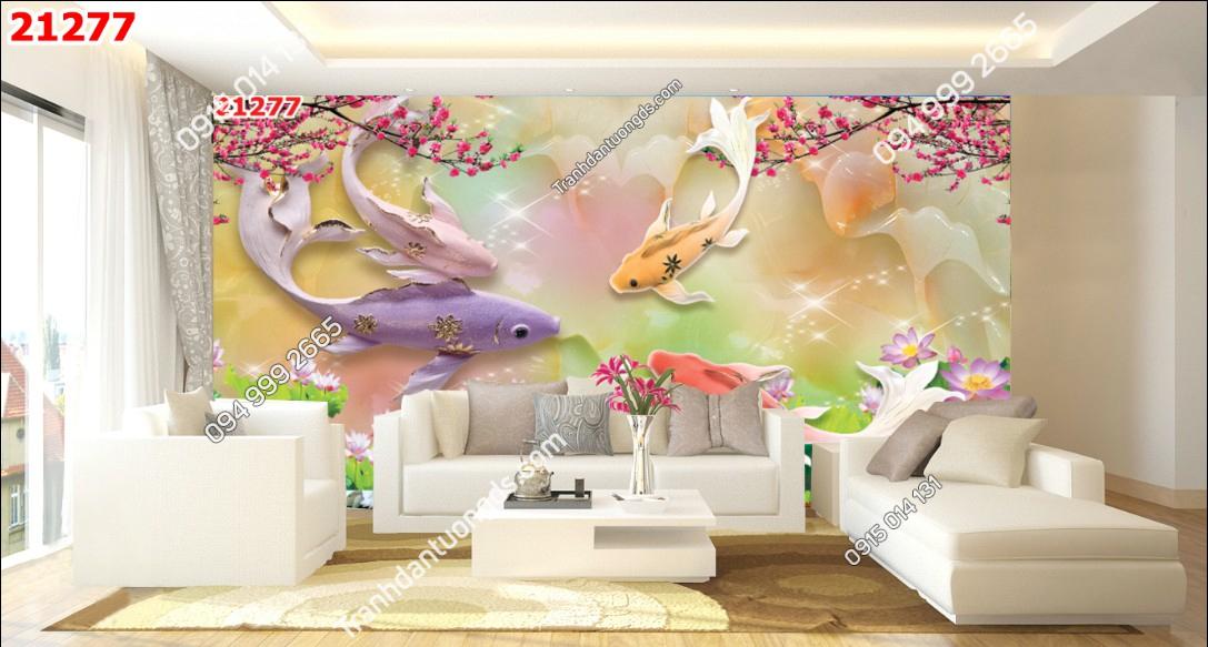 Tranh dán tường cá chép hoa đào - 21277 demo