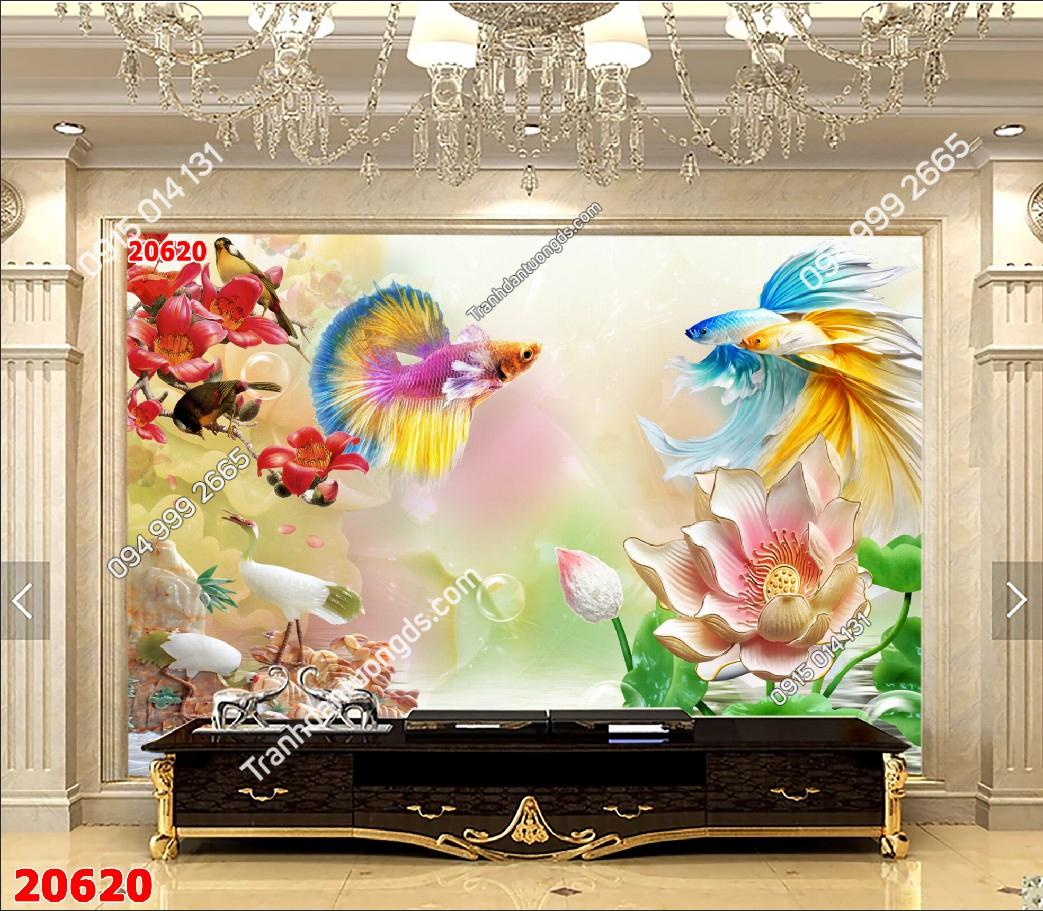 Tranh dán tường cá chép hoa gạo 20620