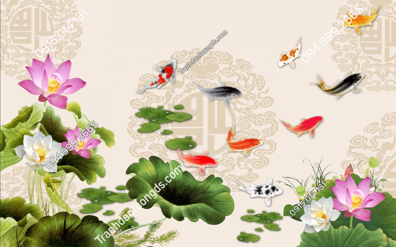 Tranh dán tường cá chép hoa sen 10264