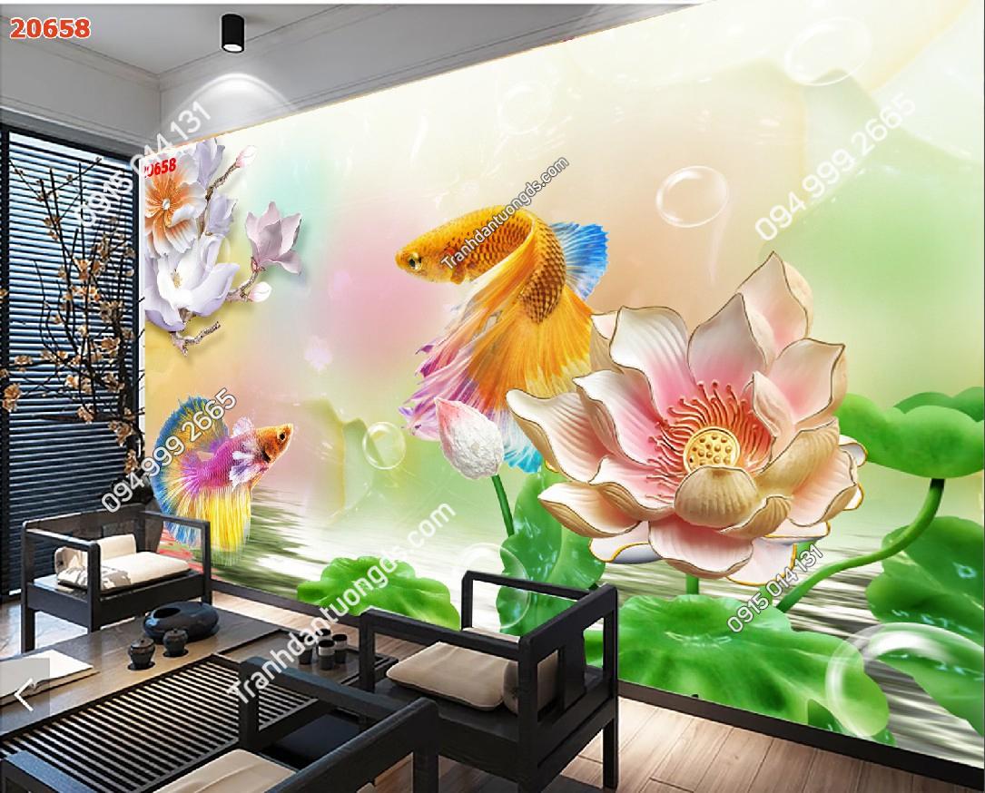 Tranh dán tường cá chép hoa sen 20658 phòng trà