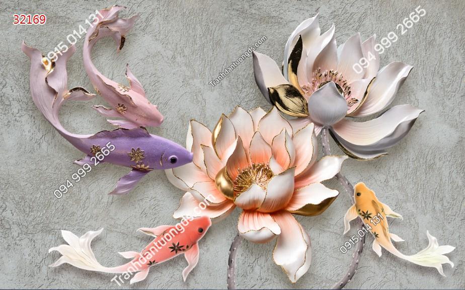 Tranh dán tường cá chép hoa sen điêu khắc - 32169