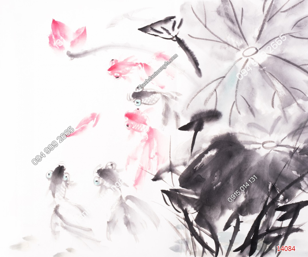 Tranh dán tường cá chép hoa sen thủy mặc 14084 DEMO