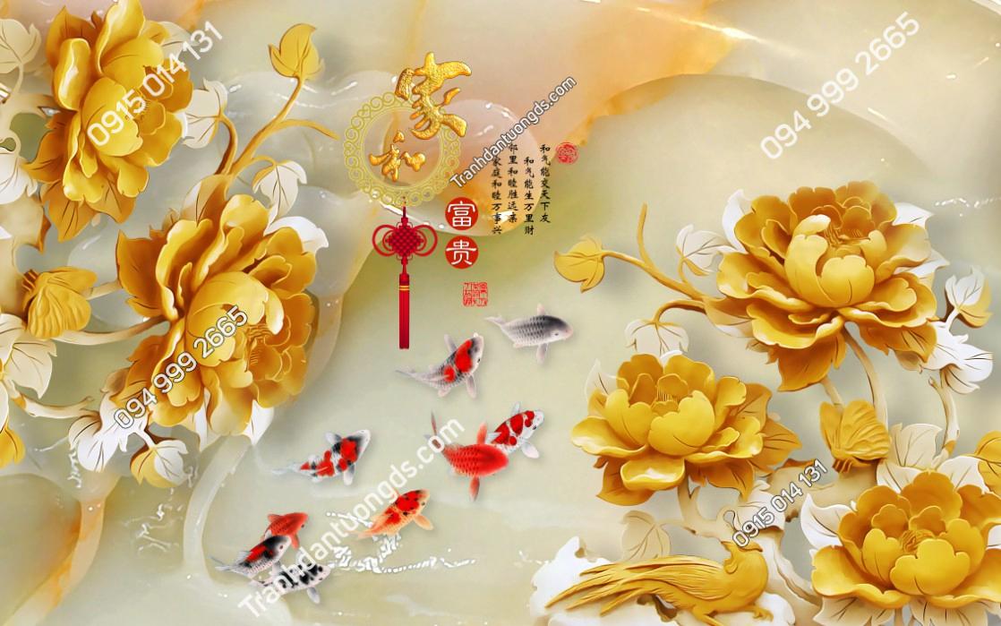 Tranh dán tường cá chép hoa vàng 10108