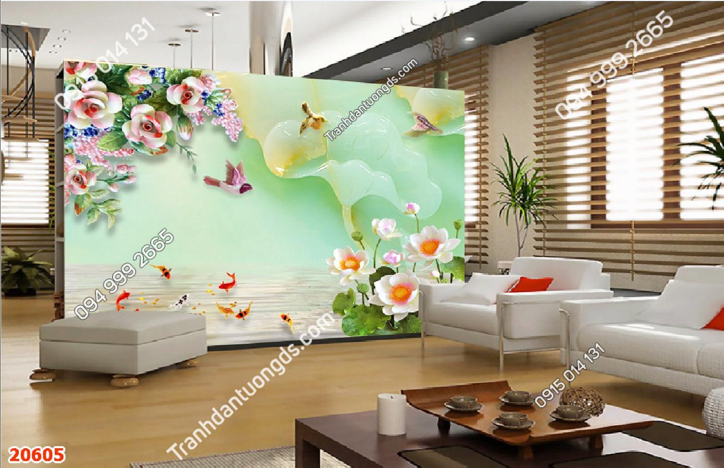 Tranh dán tường cá chép và hoa ngọc 20605 demo