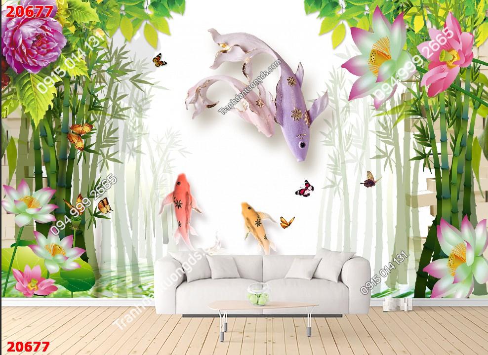Tranh dán tường cá chép và tre xanh 20677