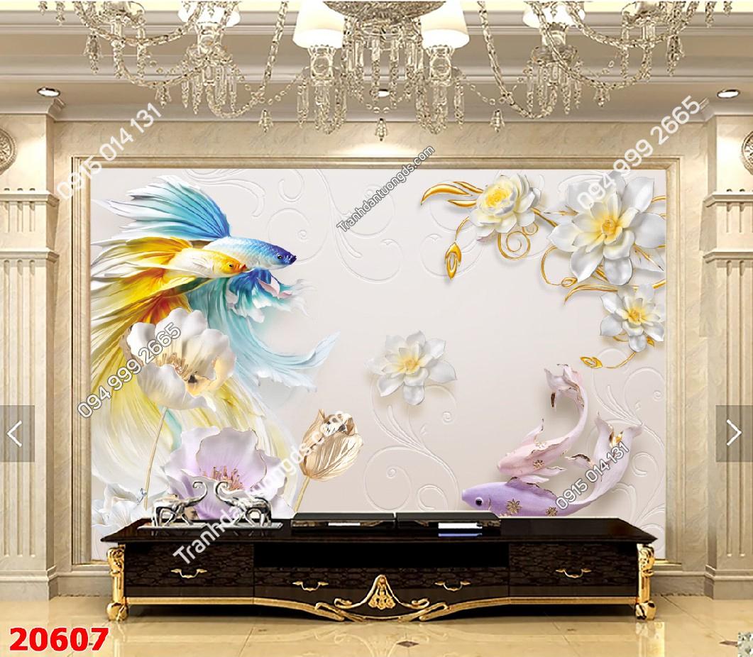 Tranh dán tường cá và hoa 3d - 20607