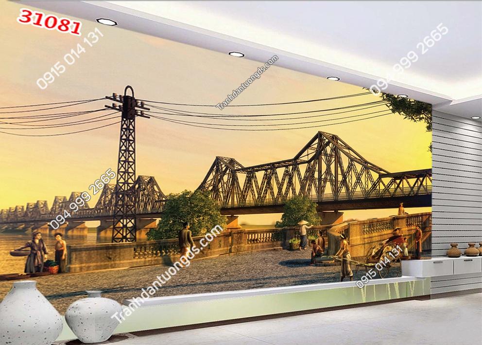 Tranh dán tường cầu Long Biên 31081