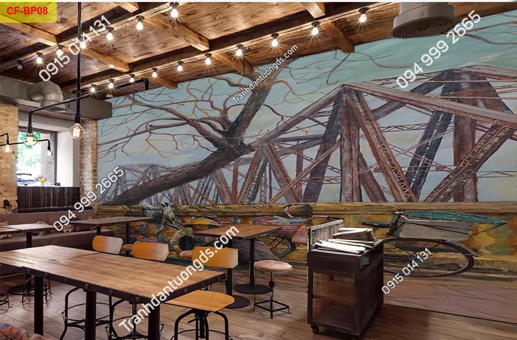 Tranh dán tường cầu Long Biên Hà Nội dán quán cafe -BP08
