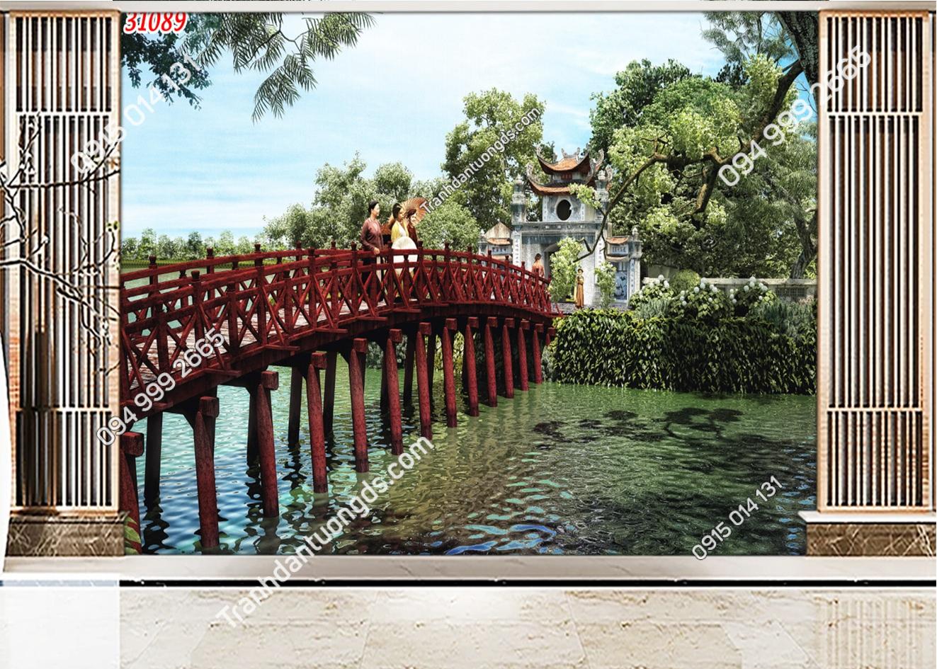 Tranh dán tường cầu Thê Húc Hà Nội 31089