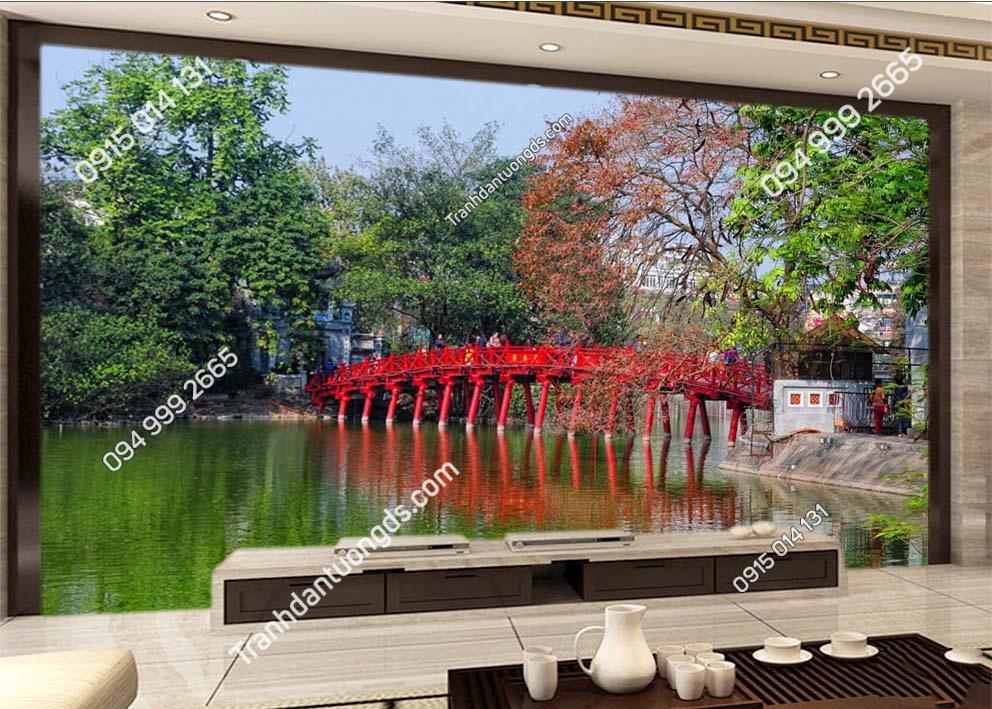 Tranh dán tường cầu Thê Húc Hà Nội -HNX23