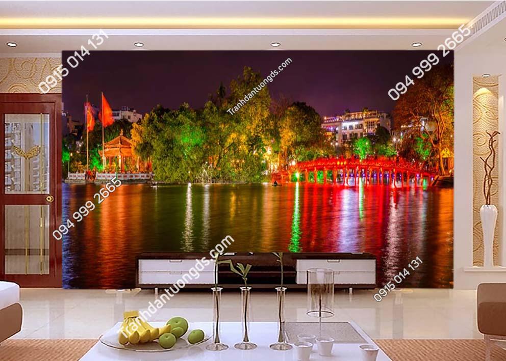 Tranh dán tường cầu Thê Húc Hà Nội về đêm -HNX30