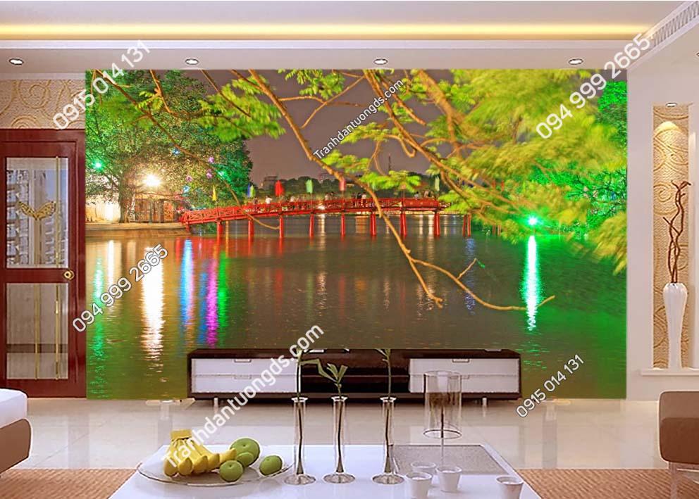Tranh dán tường cầu Thê Húc Hà Nội về đêm -HNX34