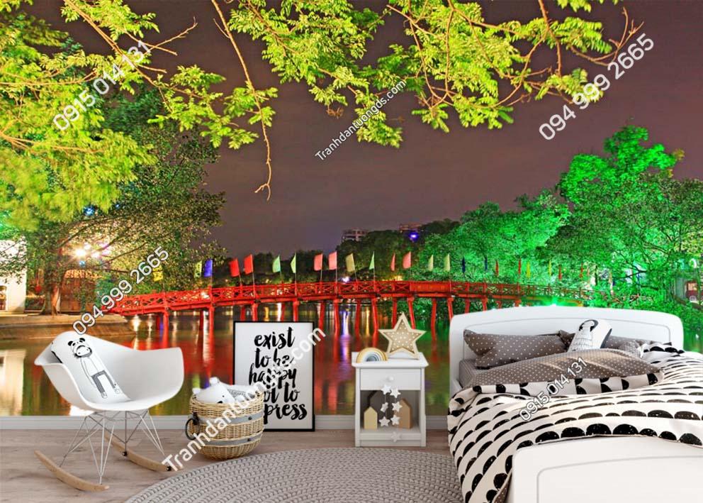 Tranh dán tường cầu Thê Húc Hà Nội về đêm -HNX37
